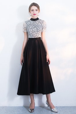 Black High Neck Short Sleeves White Floral Lace A-Line Dress