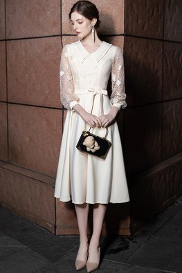 Champagne Collar 3/4 Floral Lace Sleeves Ribbon Front Dress
