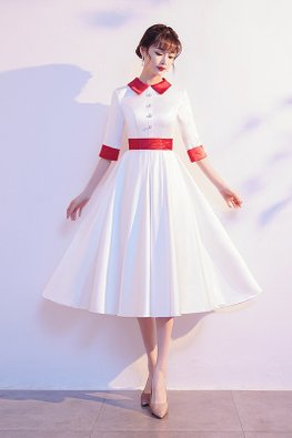 White Red Collar 3/4 Sleeves Pearl Buttons A-Line Dress