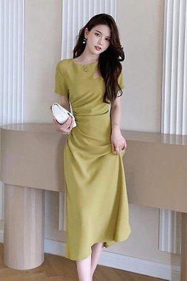 Green / Black Round Neck Peekaboo Front Short Sleeves Dress