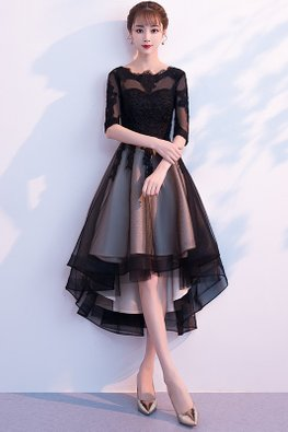 Black Round Neck Illusion Elbow Sleeves Hi-Lo Tulle Gown
