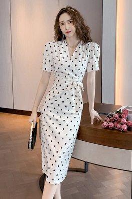 Polka Dot V-Wrap Puff Sleeves Ribbon Front Dress