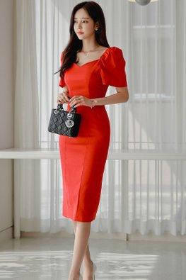 Red V-Sweetheart Short Sleeves Sheath Dress
