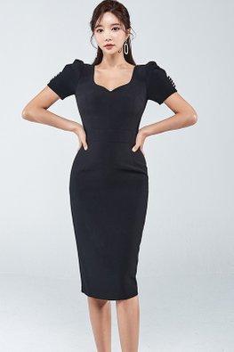 Black Sweetheart Puff Button Sleeves Sheath Dress