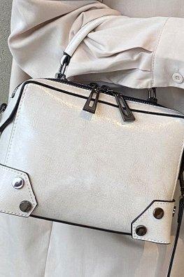 Brown / Cream Cow Leather Mini Luggage Bag