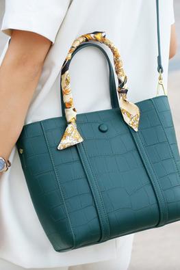 Khaki / Green One-Handle Scarf Leather Bag