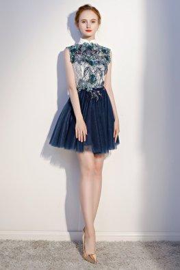 White Blue Collar 3D Embroidery Mini Mesh Dress