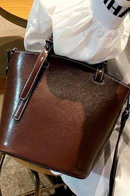 Brown / Coffee Leather Bucket Bag