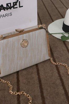 Cream / Black Chain Sling Wallet Bag