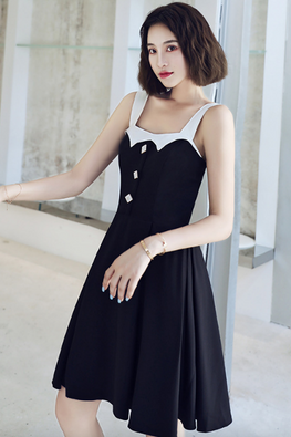 White Thick Strap Square Neckline Diamond Buttons A-Line Dress
