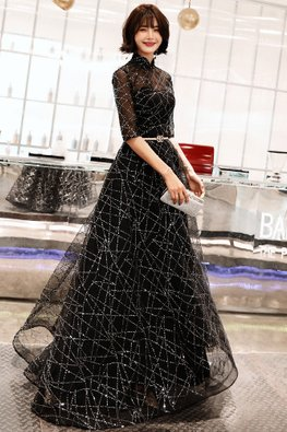 Black Mandarin Collar Sweetheart Illusion Sequin-Lined Tulle Gown