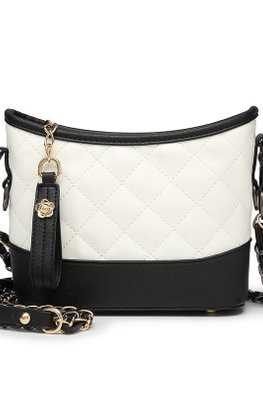 White Black Base & Rims Quilted Sling Bag