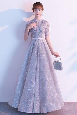Silver Grey Mandarin Collar Short Sleeves Patterned Tulle Gown