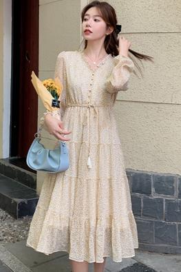 Yellow V-Neck Long Sleeves Mini Floral Chiffon Dress