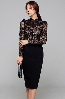 Black / White High Neck Illusion Intricate Lace Dress