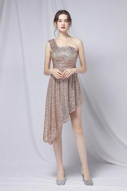 Gold / Maroon One-Shoulder Strap Irregular Sequins Dress