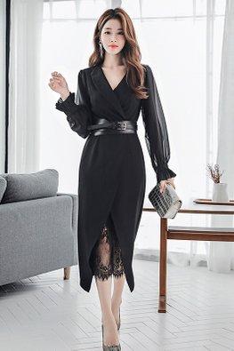 Black / White V-Lapel Long Chiffon Sleeves Belted Bottom Lace Dress