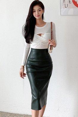 2-Pc White Peekaboo Top + Leather Skirt