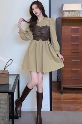 2-Pc Khaki / Black Leather Vest + Long Sleeves A-Line Dress