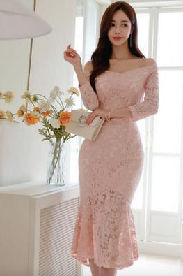 Pink Off-Shoulder 3/4 Sleeves Mermaid Lace Dress
