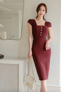 Wine Red / Nude Almond Square Neckline Pleated Cap Sleeves Dress