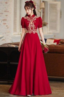 Wine Red Mandarin Collar Puff Sleeves Tassels A-Line Gown