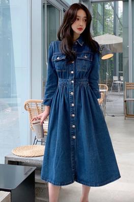 Blue Collar Button Down Long Sleeves A-Line Dress