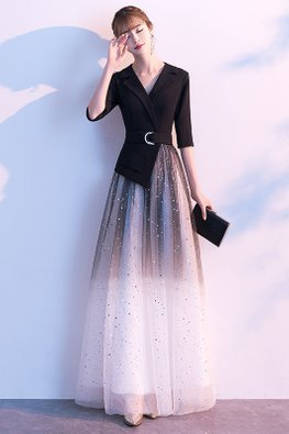Black Collar V-Neck Belted Twinkle Ombre Gown