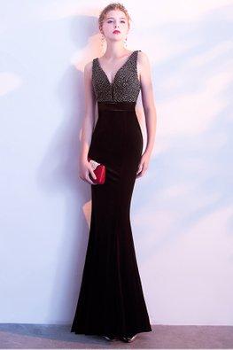 Black V-Neck Beads Open Back Floor Length Mermaid Gown (Express)