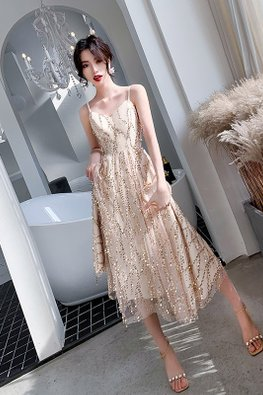 2-Pc Champagne Strap Overlay Strip Sequins Mesh Gown