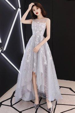 Light Grey Round Neck Illusion Back Layered Stars Mesh Hi-Lo Gown