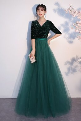 Green V-Neck Elbow Sleeves Sequins Layered Mesh Gown